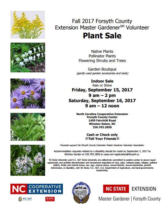 Forsyth County Extension Master Gardener Plant Sale North Carolina Cooperative Extension