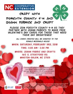 Cover photo for Craft With Forsyth County 4-H and Joann Fabrics!
