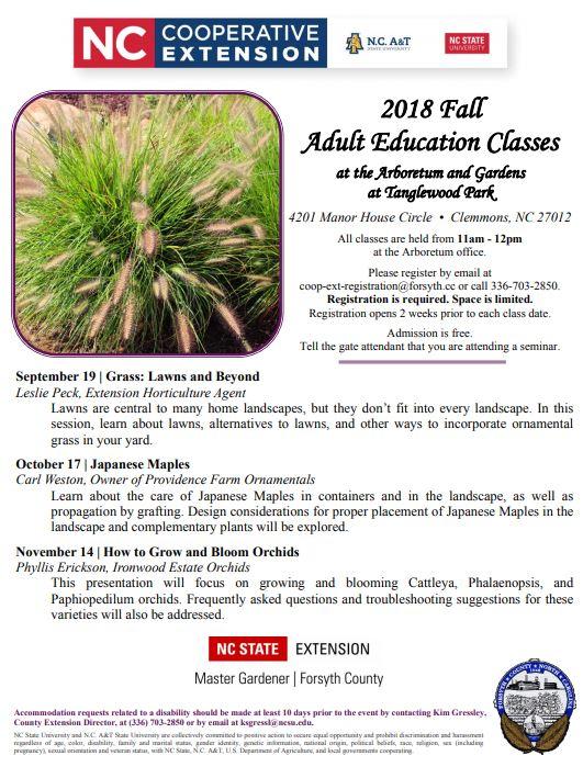 2018 fall Arboretum Adult Education classes