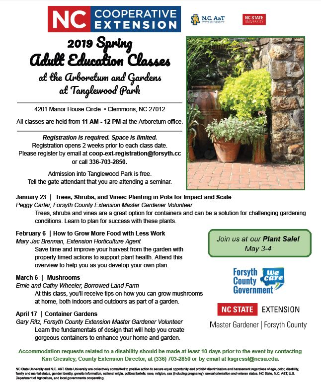 2019 flyer for adult education at the arboretum at tanglewood