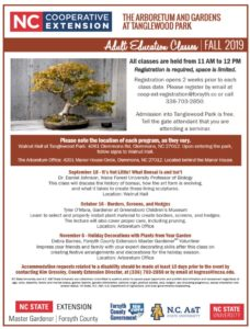 Fall 2019 Arboretum Adult Education flyer