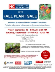 2019 Fall Plant Sale - Forsyth County EMGV
