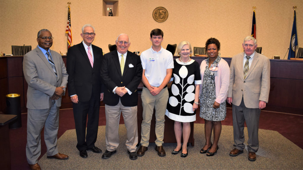 Photo of Ethan Cook with Forsyth County Commissioners