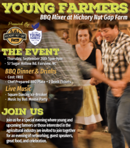 Cover photo for Young Farmers Mixer! Chef Prepared BBQ Dinner, Square Dancing, and No Cost!