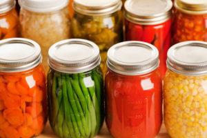 jars of canned vegetables