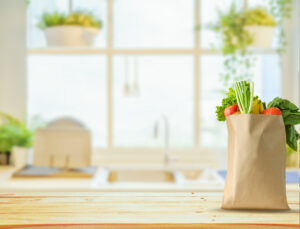 groceries on kitchen counter