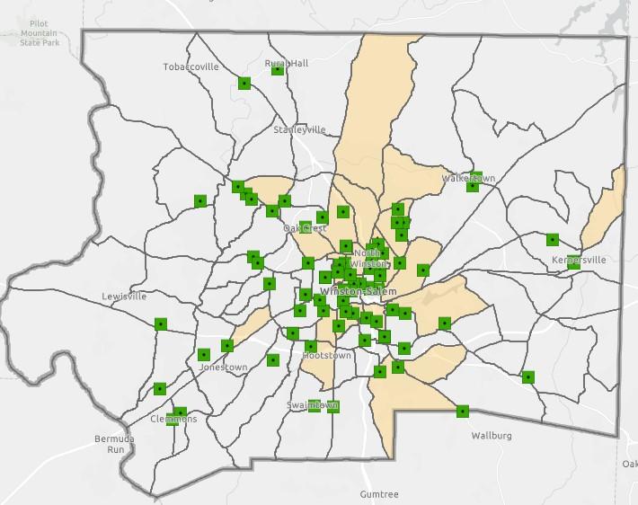 Map of community gardens